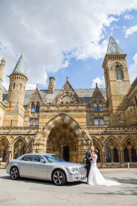 Wedding car ettington park hotel stratford bride groom