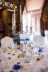 blue white table decorations ettington park