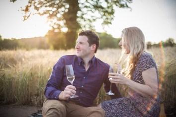 couple enjoying champagne saxon mill rustic golden hour warwickshire