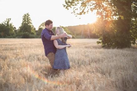 dancing in corn field wheat corn rustic countryside pre wedding