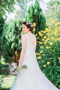 bride portrait parents garden yellow flowers beautiful classic leamington