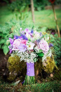 pink purple green bouquet