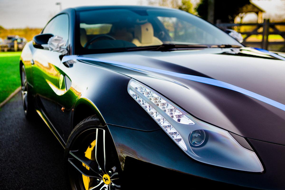 Ferrari at Mythe Barn Wedding Car
