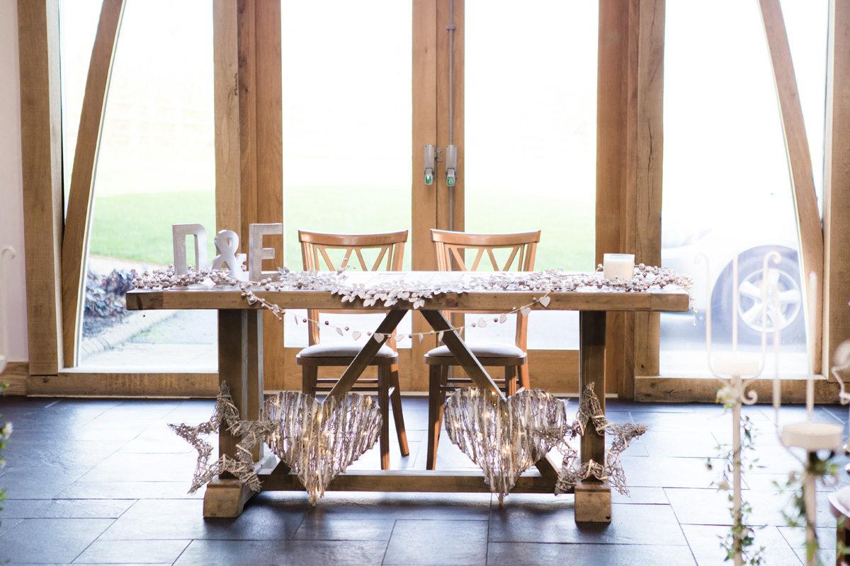 Winter Ceremony Table at the Oak Room Mythe Barn