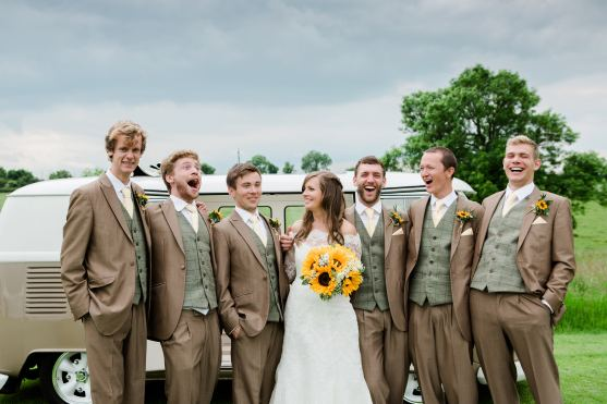 grromsmen laugh with bride relaxed photography home farm