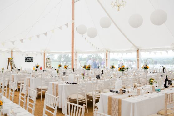 Rustic Marquee Decoration at Home Farm