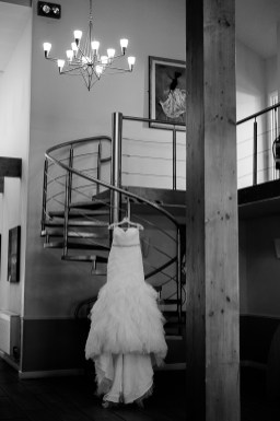 Wedding Dress on Spiral Stairs Draycote Hotel