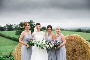 lilac bridesmaids dresses with bride