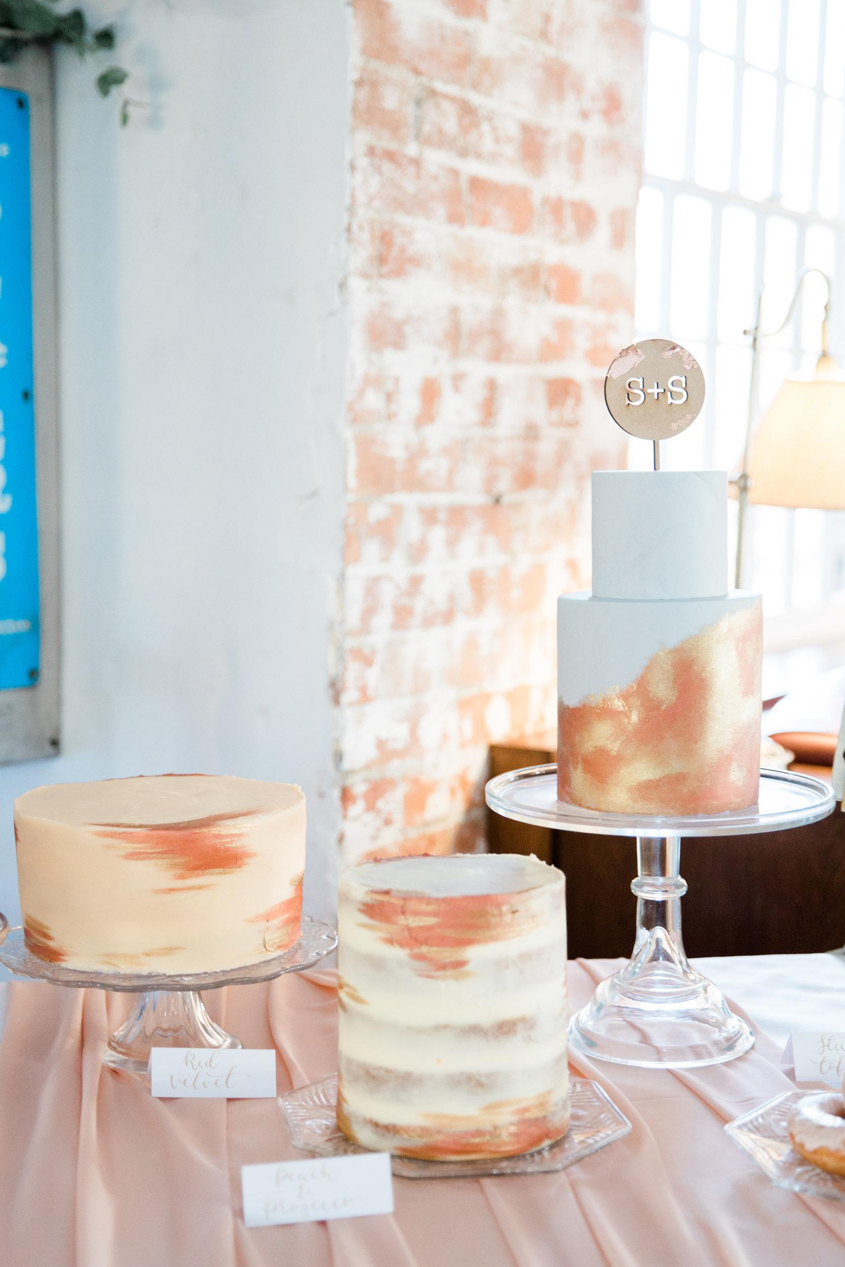industrial modern copper gold grey wedding cake