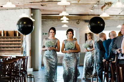 sequin bridesmaids dresses industrial glamour theme wedding