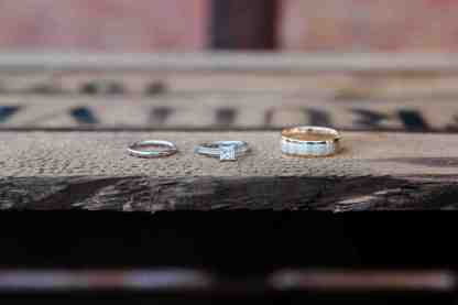 wedding rings on rustic wooden box