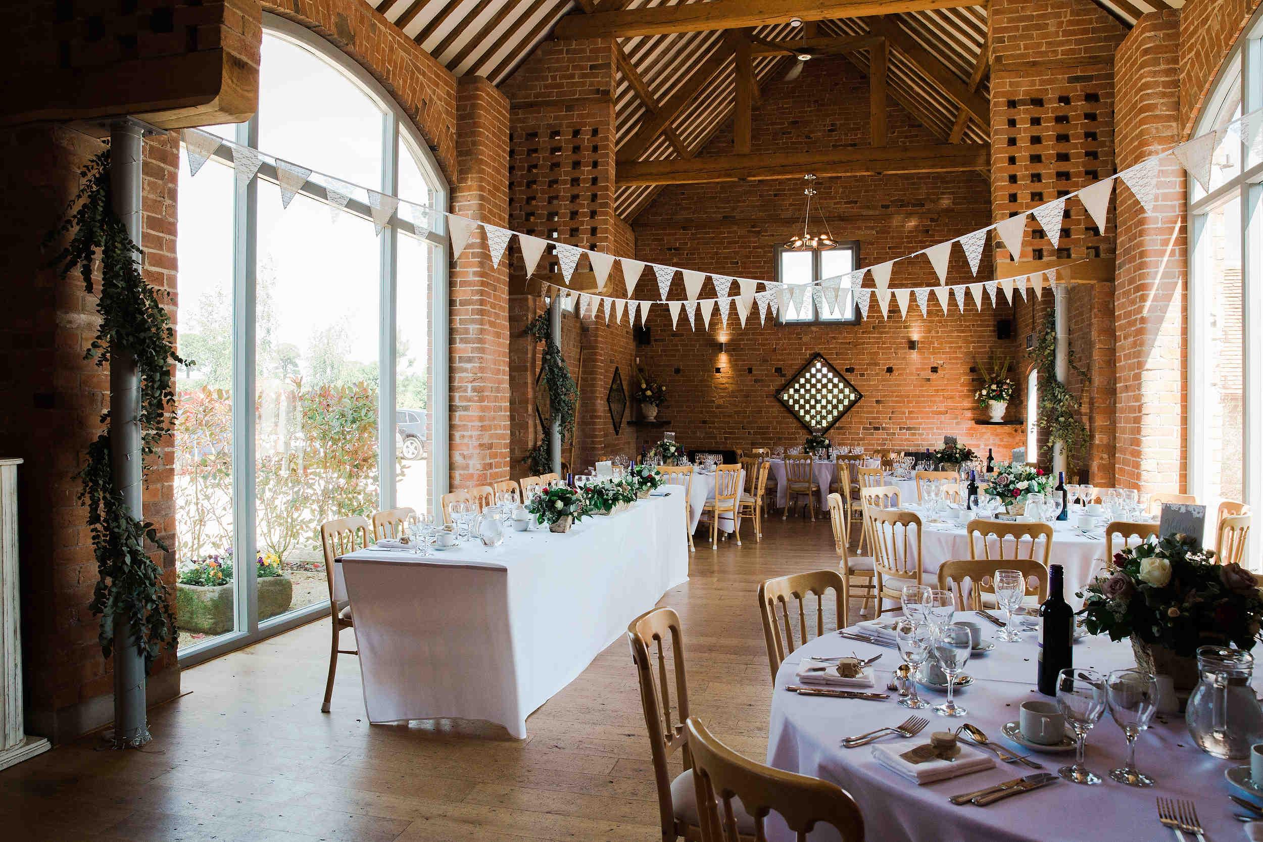 barn set up for wedding breakfast