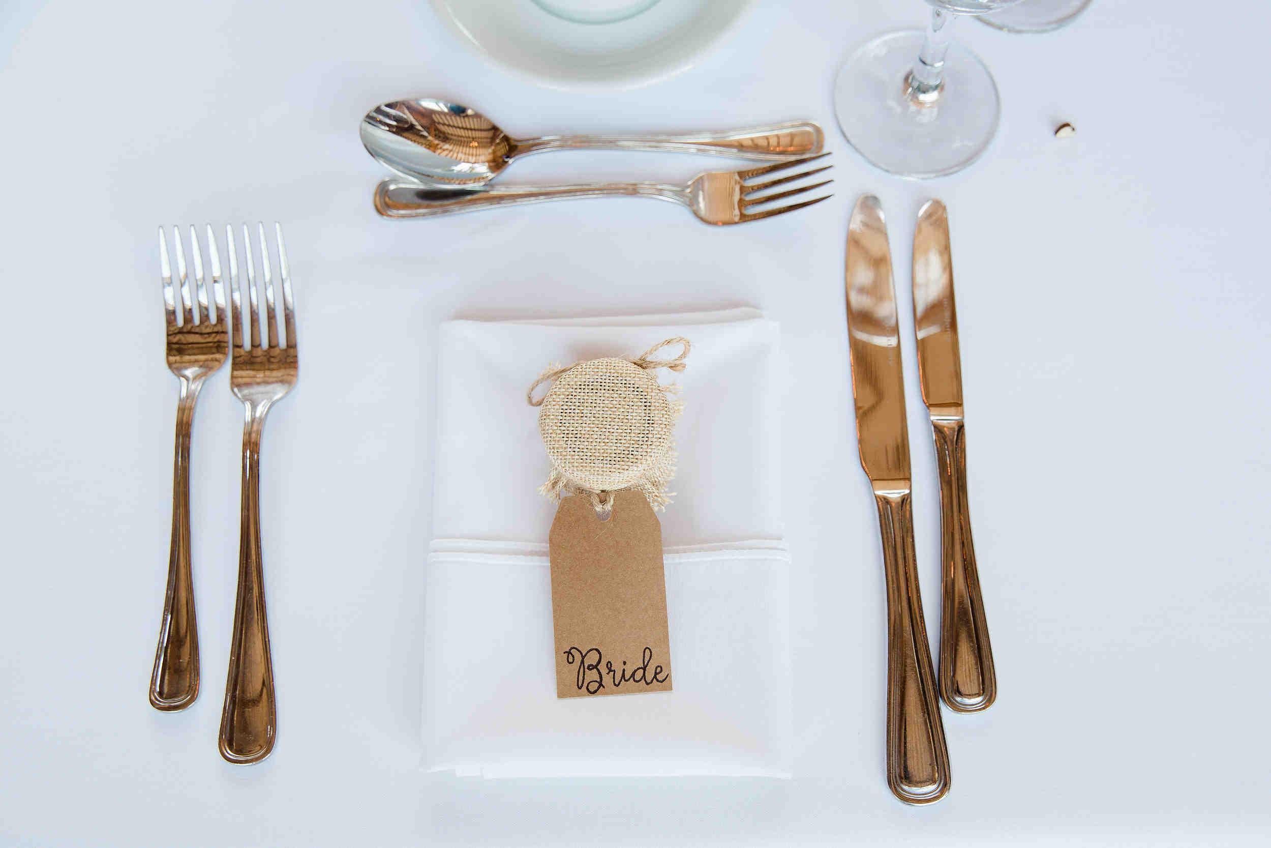 brides place setting wedding breakfast swallows nest warwickshire