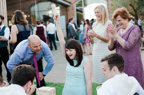 Giant jenga gets competitive wedding guests