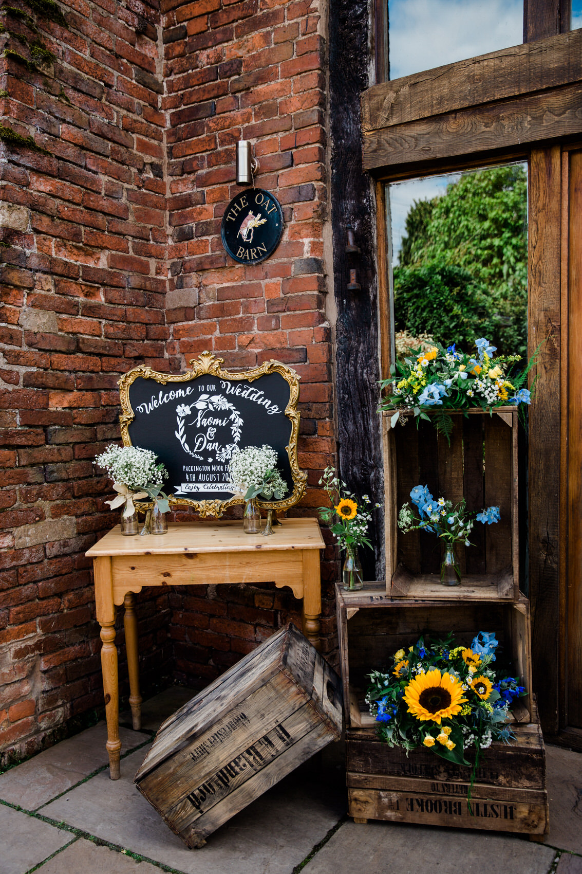 yellow and blue rustic wedding decor