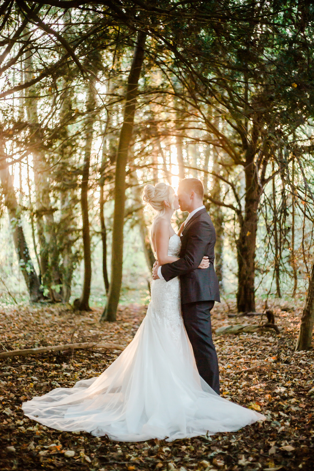 bride and groom in woods brandon hall coventry