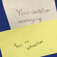 Sophomores behind sticky notes