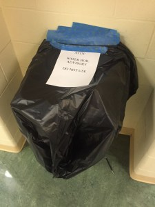 Water fountains were closed and covered with trash bags after a water-line break made water unsafe to drink.