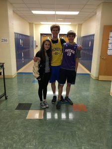 Seniors Cory Kramer and Katie Gerber and junior Jake Mathews also dress for spirit day number 2!