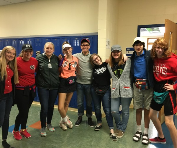 Sophomores Montana Morgan, Morgan Pruss, Hailey Woods, Megan Smith, Carlos Rodriguez, Emily Swick, Marika Orta Deemer, Mateo Gutierrez, and Nick Evans showed their school spirit while dressing as parents.