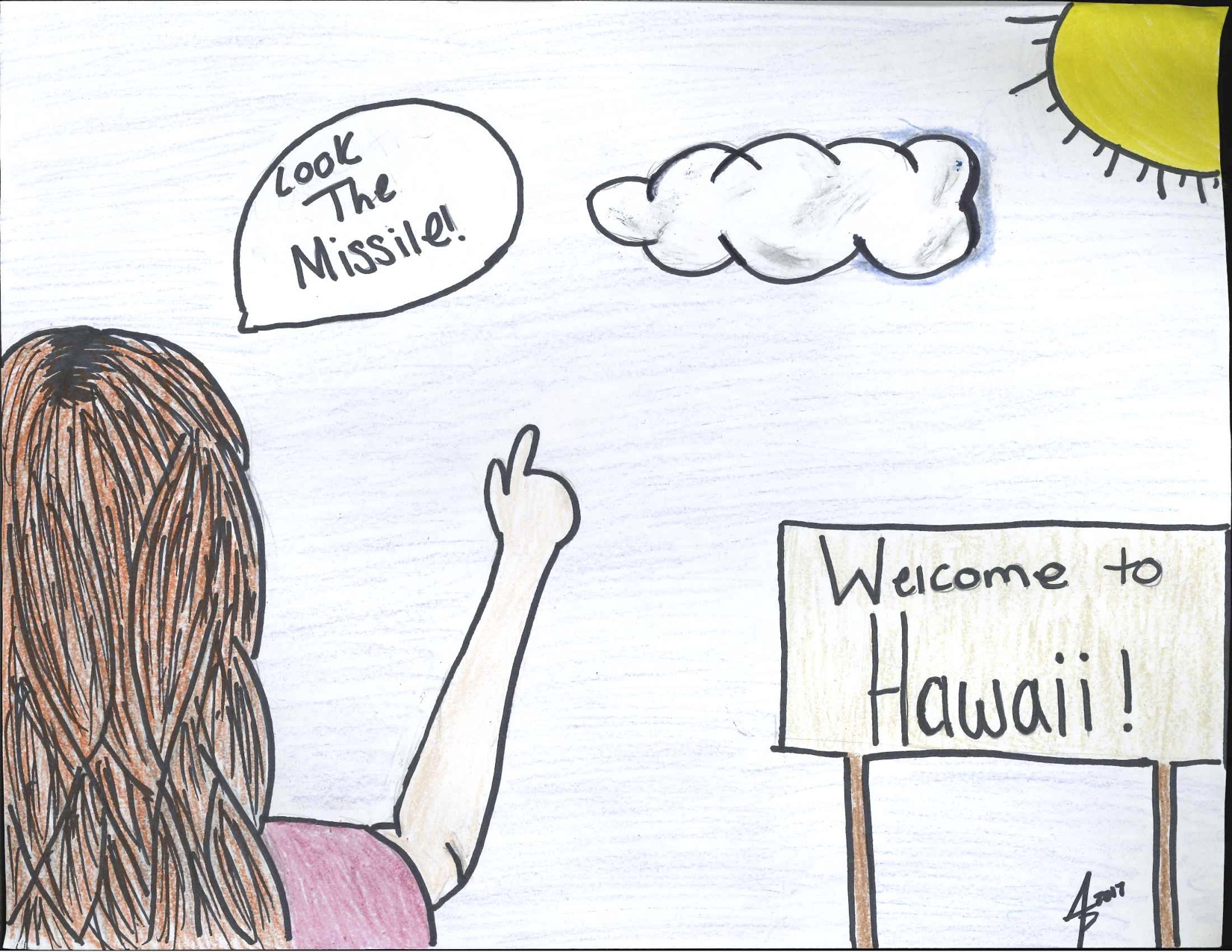 "Editorial Cartoon: ""Hawaii Missile Incoming!"""