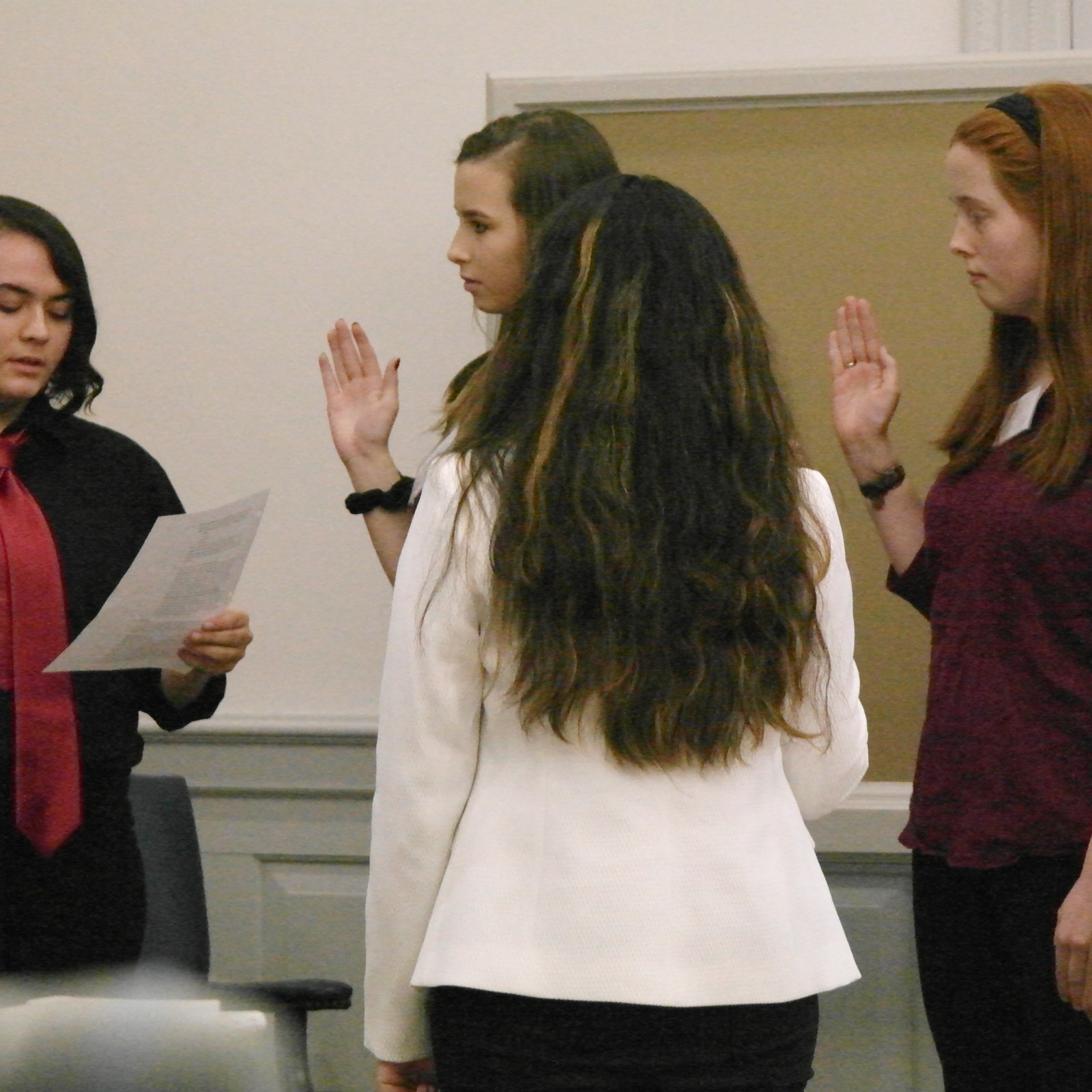 Witnesses from Perrysburg and Tinora High School being sworn in