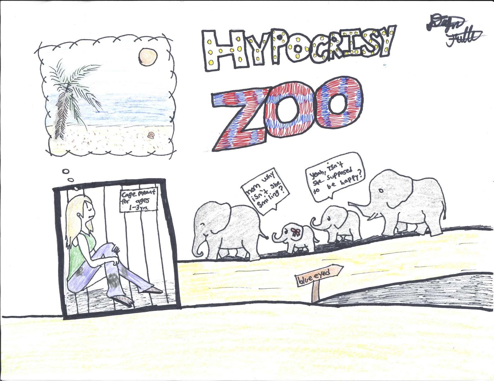 """Cartoon elephants look at caged human in """"Hypocrisy Zoo"""""""