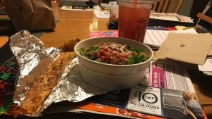 a create-your-own pasta bowl, a pepperoni Piada stick, and a blood orange tea.
