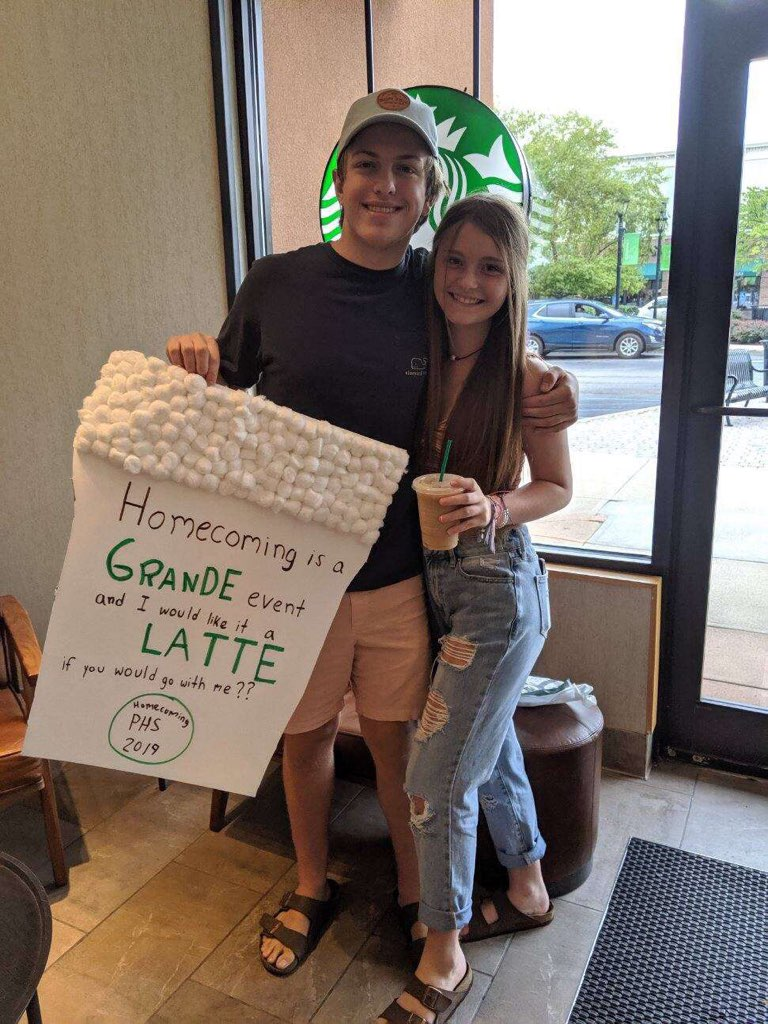"""Homecoming is a GRANDE event and I would like it a LATTE if you would go with me??"""""""
