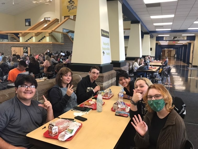 six students eating lunch in phs commons