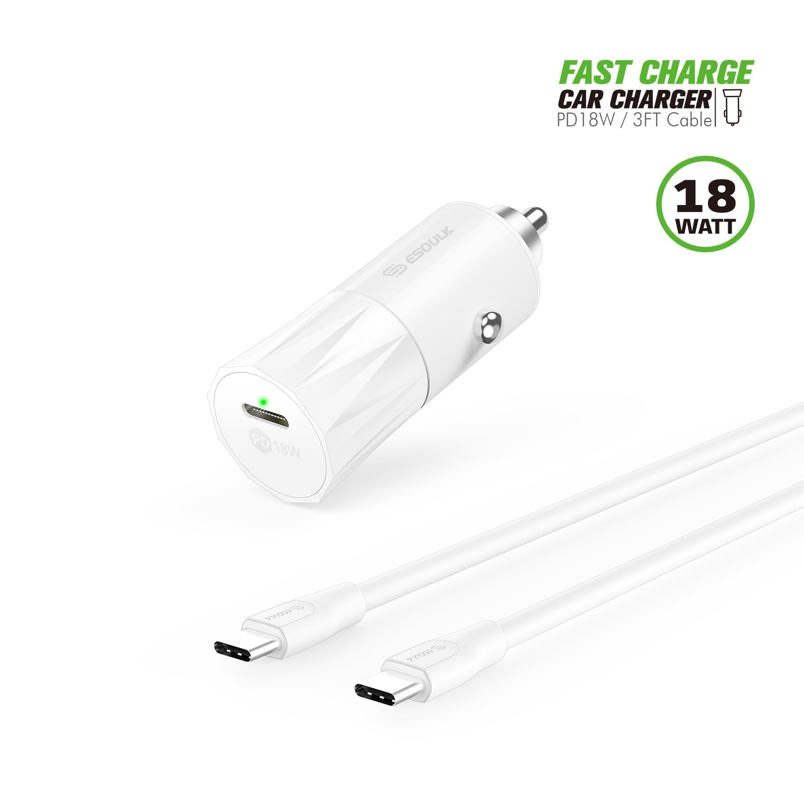 Ec36p Cc Wh 18w Pd Fast Charger Car Amp 3ft C To C Cable