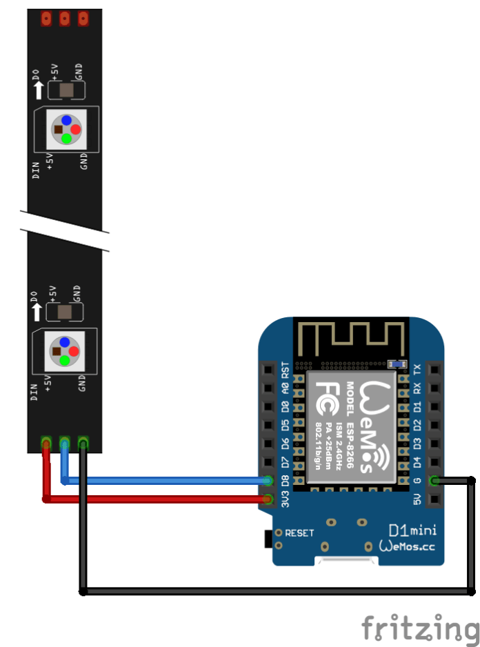 neopixel strip and wemos mini_bb