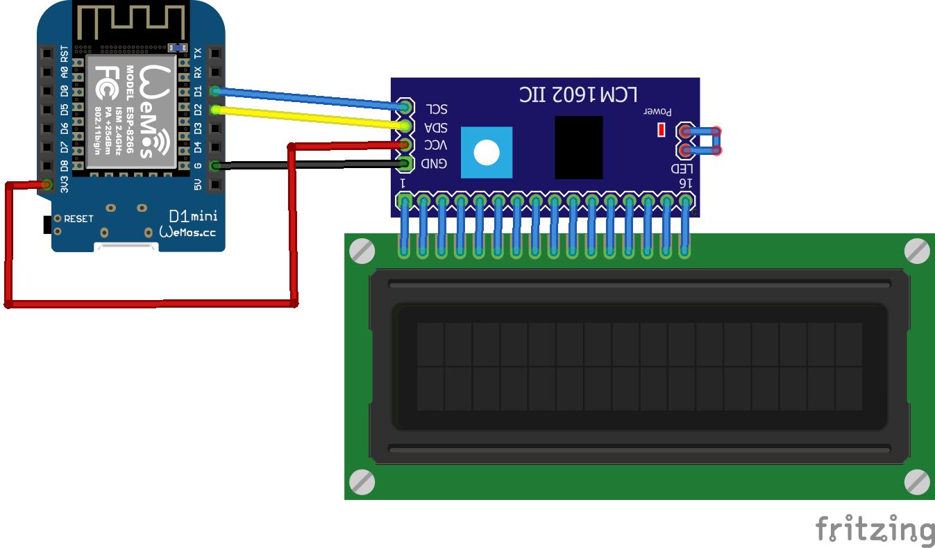 Wemos Mini and I2C LCD example - esp8266 learning
