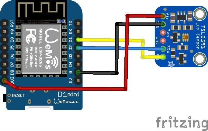 ESP8266 and TSL2591 layout