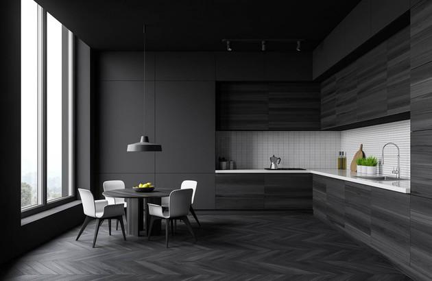 du noir dans la cuisine espace aubade