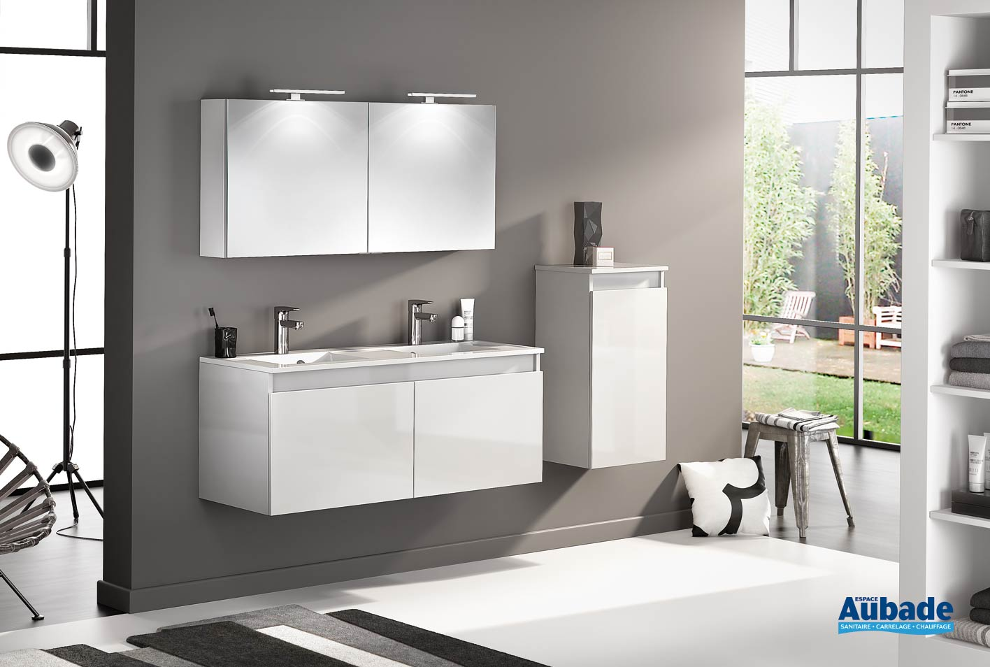 meuble double vasque avec 2 portes d motion l 120 cm blanc brillant par delpha