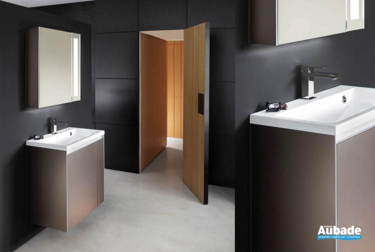 meuble salle de bains finition verre