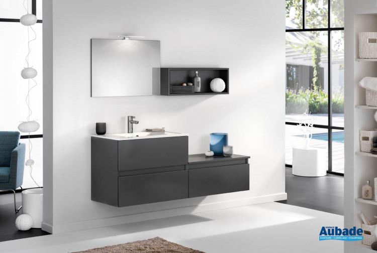 meuble de salle de bains avec 2 coulissants d motion l 80 cm sur ensemble l 160 cm graphite satine par delpha