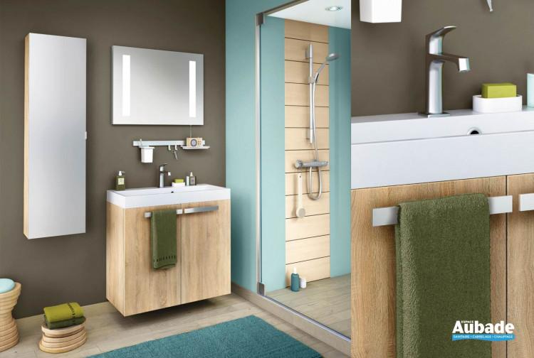 meuble de salle de bains en chene scie clair structure