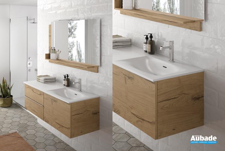 ensemble 120 cm de meubles sous vasque 1 grand tiroir et sous plan 2 tiroirs chiara par cedam
