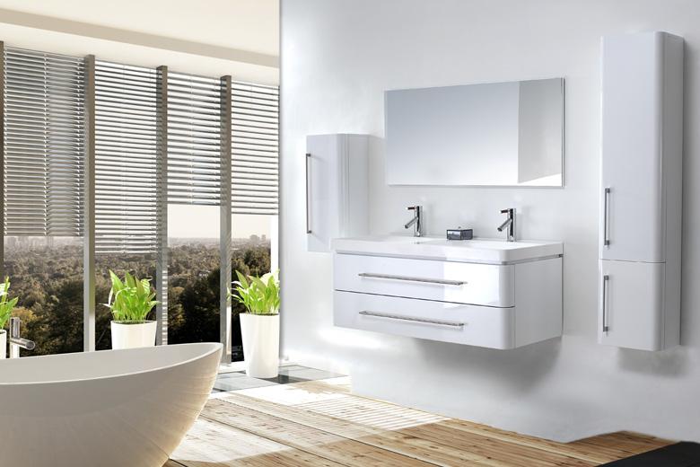 meuble salle de bain double vasque 120 cm 2 colonnes emy blanc