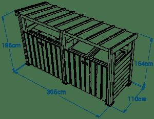 Shéma :ABRI CONTENEUR avec toit double
