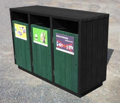 point-tri 3 flux en plastique 100% recycle pour zone de tri ou espace public - Point tri 3 bacs ÉQUILIBRE ESPACE URBAIN