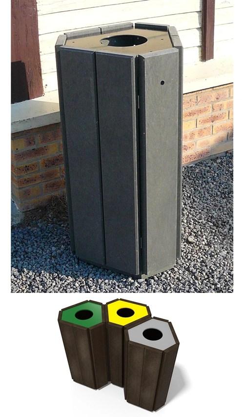 corbeille en plastique 100% recycle gamme parc - Corbeille avec couvercles PARC ESPACE URBAIN