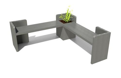 Banquette d'angle Alcove avec jardinière en plastique recyclé - banquette en angle avec jardinière ALCOVE ESPACE URBAIN