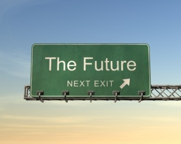 A picture of an exit sign saying 'the future next exit'