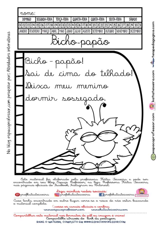 Leitura interativa bicho-papão letra cursiva