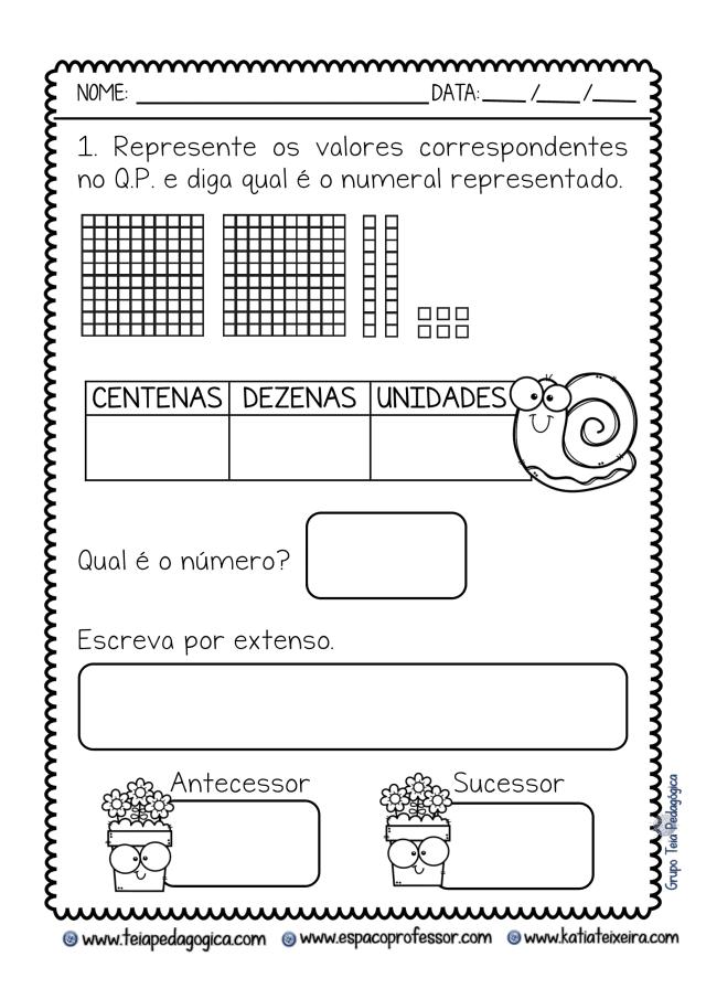 Atividades de matemática: Sistema de numeração