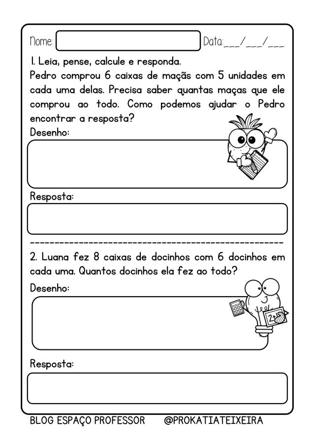 Atividades de multiplicação em pdf números 5, 6 e 7