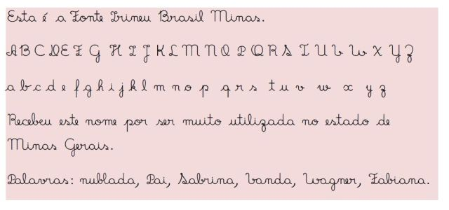 minas Fonte de letra cursiva perfeita para  atividades de alfabetização